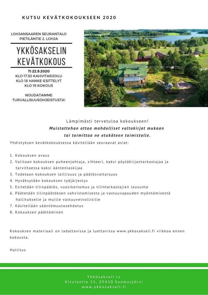 Kuvassa kevätkokouksen aikataulu ja esityslista.